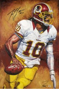 """The Show"" by Artist Justyn Farano. Signed by Robert Griffin III"