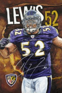 """Mayhem In The Middle"" by Artist Justyn Farano. Signed by Ray Lewis"