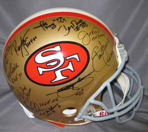 49ers Hall of Famers Multi Signed Proline Helmet with Hall of Fame Inscriptions