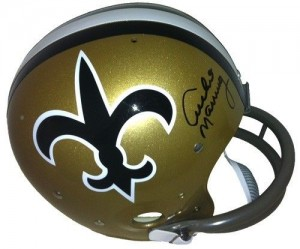Archie Manning Hand Signed Official Game Issue Throwback New Orleans Saints Helmet