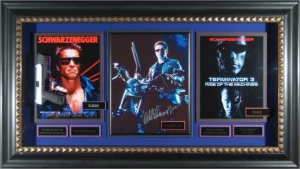 Terminator Cast Signed Masterpiece Collage with Framed in Prop Pistol