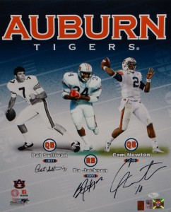 "Pat Sullivan, Bo Jackson, and Cam Newton Triple Signed ""Auburn Greats"" 16x20 Masterpiece"