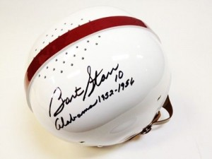 "Bart Starr Hand Signed Official Game Issue Throwback Alabama Helmet with ""Alabama 1952-1956"" Inscription"