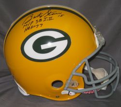 Bart Starr Hand Signed Official Game Issue Packers Helmet with SB MVP and HOF Insc