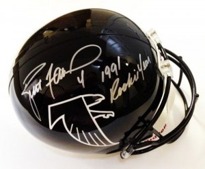"Brett Favre Hand Signed Official Game Issue Atlanta Falcons Throwback Helmet with ""1991 Rookie Year"" Inscription"
