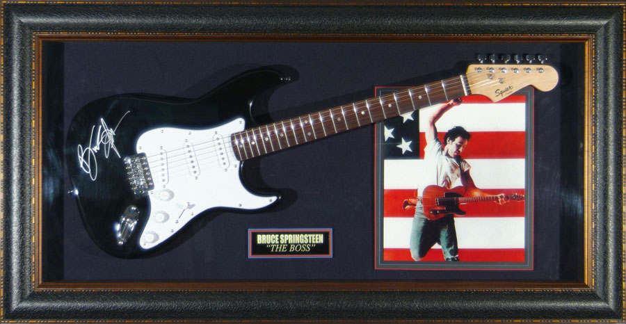 Bruce Springsteen Hand Signed and Framed Guitar