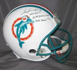 Dan Marino Hand Signed Official Game Issue Dolphins Helmet with Career Stats