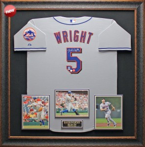 David Wright Hand Signed and Framed Official Game Issue New York Mets Jersey