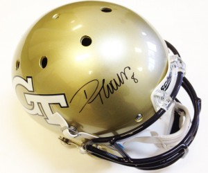 Demaryius Thomas Hand Signed Official Game Issue Georgia Tech Helmet