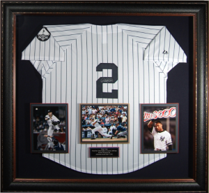 Derek Jeter Hand Signed and Framed Official Game Issue Yankees Jersey