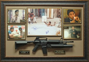 "Al Pacino and Steven Bauer Dual Signed ""Scarface"" Masterpiece Collage with Framed-In Full Sized Movie Prop Replica Machine Gun"