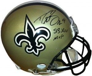"Drew Brees Hand Signed Official Game Issue New Orleans Saints Helmet with ""SB XLIV MVP"" Inscription"