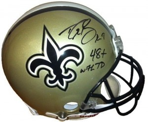 "Drew Brees Hand Signed Official Game Issue New Orleans Saints Helmet with ""48+ with TD"" Inscription"