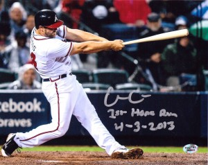 "Evan Gattis Hand Signed Atlanta Braves 16x20 Masterpiece with ""1st Home Run - 4-3-2013"" Inscription"