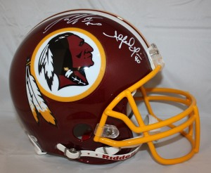 Robert Griffin III and Alfred Morris Dual Signed Official Game Issue Redskins Helmet