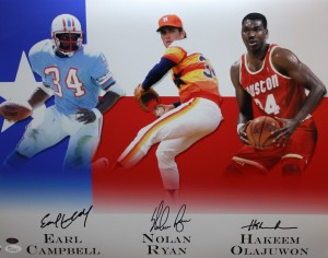 Houston Sports Greats Triple Signed 16x20 Masterpiece Signed by Campbell, Ryan, Olajuwon