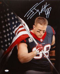 "JJ Watt Hand Signed Houston Texans ""Carrying the American Flag"" 16x20 Masterpiece"