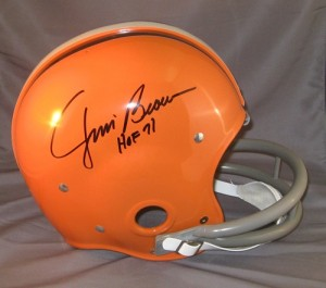 "Jim Brown Hand Signed Official Game Issue RK Throwback Browns Helmet with ""HOF"" Inscription"
