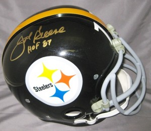 """Mean"" Joe Greene Hand Signed Official Game Issue Throwback Steelers Helmet with ""HOF"" Inscription"