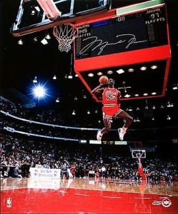 "Michael Jordan Hand Signed and Framed Limited Edition ""1988 Slam Dunk Contest - Gatorade Dunk"" 20x24 Masterpiece"