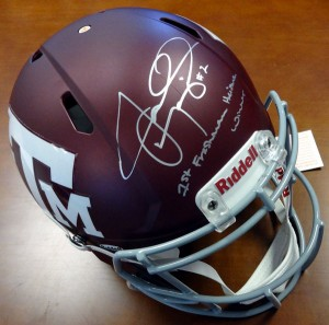 "Johnny Manziel Hand SIgned Official Game Issue Texas A&M Helmet with ""1st Freshman Heisman Winner"" Inscription"