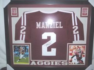 Johnny Manziel Hand Signed and Framed Official Game Issue Texas A&M Jersey