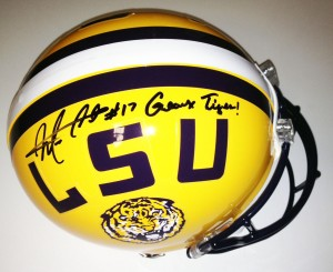 "Morris Claiborne Hand Signed Official Game Issue LSu Helmet with ""Geaux Tigers"" Inscription"