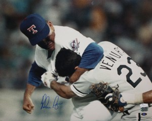 "Nolan Ryan Hand Signed ""Ventura Fight"" 16x20 Masterpiece"