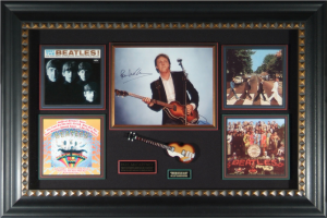 Paul McCartney Hand Signed Masterpiece Collage with Framed-In Hofner Bass