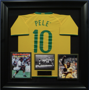 Pele Hand Signed Official Game Issue Brazil Jersey