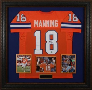 Peyton Manning Hand Signed and Framed Official Game Issue Denver Broncos Jersey