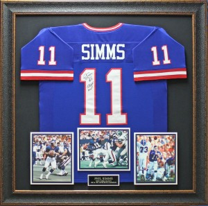 Phil Simms Hand Signed and Framed Official Game Issue New York Giants Jersey