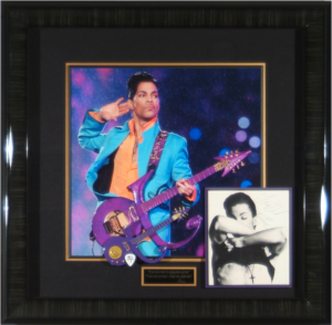 Prince Hand Signed Masterpiece Collage with Framed in Replica Price Guitar