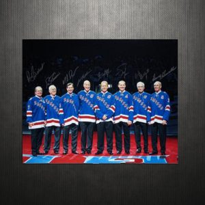 "New York Rangers ""Retired Numbers"" Limited Edition of 500 16x20 Masterpiece Hand Signed by Mark Messier, Adam Graves, Mike Richter, Brian Leetch, Andy Bathgate, Harry Howell, Rod Gilbert, and Eddie Giacomin"