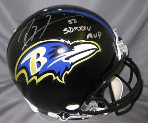 Ray Lewis Hand Signed Official Game Issue Ravens Helmet with SB MVP Insc