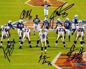 New Orleans Saints Super Bowl XLIV Multi Signed 16x20 Masterpiece Signed by Whole Offensive Line
