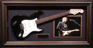Eric Clapton Hand Signed and Framed Guitar Display