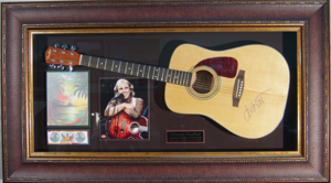 Jimmy Buffett Hand Signed and Framed Acoustic Guitar