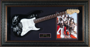 Kiss Band Signed and Framed Guitar