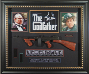 The Godfather Cast Signed Masterpiece Collage with Framed in Tommy Gun