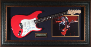 Carlos Santana Hand SIgned and Framed Guitar Display