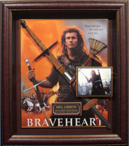 "Mel Gibson Hand Signed ""Braveheart"" Masterpiece Collage with Framed in Scottish Kilt and Full Sized Scottish Claymore Sword"