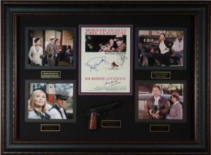 Bonnie and Clyde Cast Signed Masterpiece Collage with Framed-In Prop Pistol