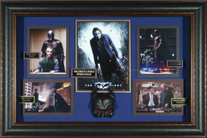 The Dark Knight Batman Cast Signed Masterpiece Collage with Framed-In Batman Mask