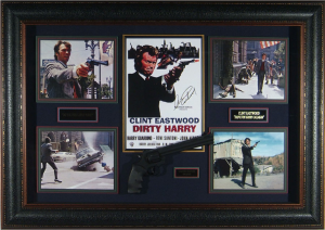 "Clint Eastwood Hand Signed ""Dirty Harry"" Masterpiece Collage with Framed-In Prop Pistol"