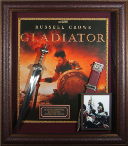 "Russell Crowe Hand Signed ""Gladiator"" Masterpiece Collage with Framed-In Roman glades sword and scabbard"