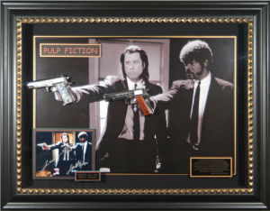 John Travolta and Samuel L Jackson Dual Signed Masterpiece Collage with 2 Framed In Movie Prop Pistols