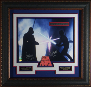 "Darth Vader and Luke Skywalker Dual Signed ""The Dual"" Masterpiece Collage"