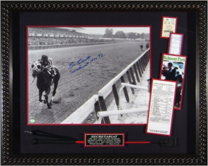 "Ron Turcotte Hand Signed ""Riding Secretariat"" Masterpiece Collage with Jockey Whip Framed-In"
