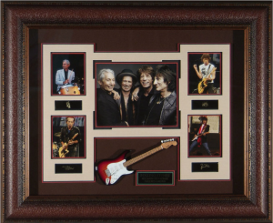 The Rolling Stones Masterpiece Collage with Framed-In Replica Mini Guitar